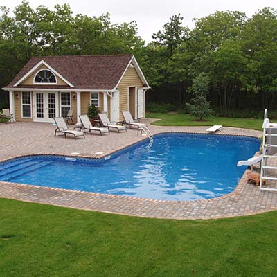 pool with ladder and slide